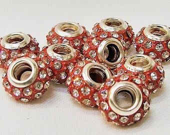 Large Hole Beads set of 10 in Red