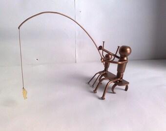Fisherman / metal art / gift/ souvenir / interior detail /