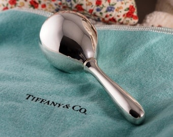 Stunning Tiffany and Co Sterling Silver Vintage Baby Rattle Rare Vintage Classic Maraca Styled Rattle