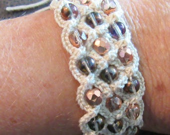 Copper Beaded Crochet  Bracelet with Vintage Button Closure