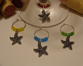 Starfish wine charms (4)