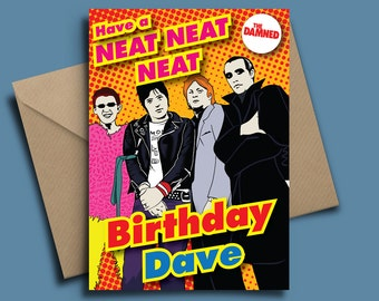 D4 - The Damned Personalised Punk Birthday Card with Badge Option