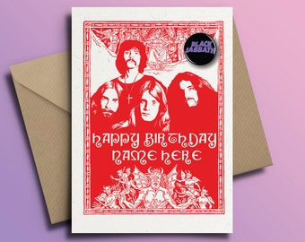Black Sabbath Ozzy Osbourne Heavy Metal Personalised Birthday Card With Badge Option