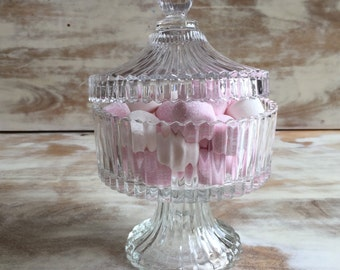 Vintage Footed Glass Dish with Lid
