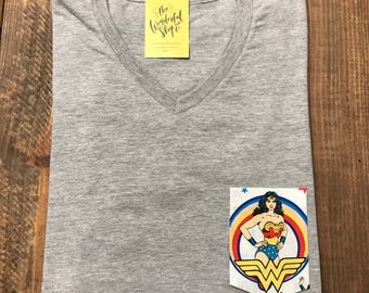 DC Comics Wonder Woman | Vintage | Custom Pocket Tee | T-shirt| V-neck | Shirt | Onesie | Bodysuit| Family | Mens | Womens | Kids | Baby