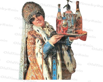 Instant PNG Digital Download/Vintage Women/Russian beauty with a tray/A girl in a headdress/Woman in Russian traditional costume/1800th.