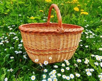 Handmade Wicker Basket Handwoven Willow Basket Wicker Picnic