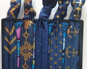Elastic Hair Ties, Set of 5 Navy and Gold Hair Ties, Yoga Hair Ties