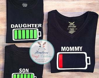 Mommy and kids Battery shirts