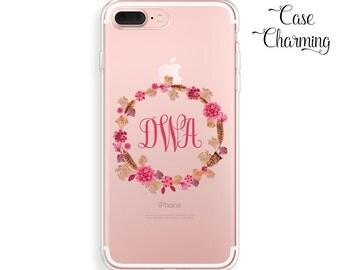 Monogram Phone Case Clear iPhone 7 Case Floral iPhone 7 Plus Case iPhone 6 Case iPhone 6s Case iPhone 6 Plus Case iPhone 5s Case iPhone SE