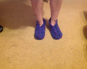Cozy, warm slippers.  Machine washable.  Custom made in the yarn of your choice.