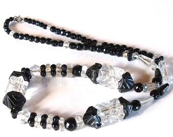 Vintage czech art deco crystal and black necklace 1920