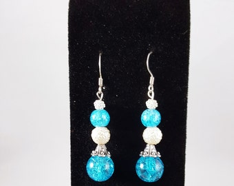 Crystal Blue and Snow White Drop Earrings