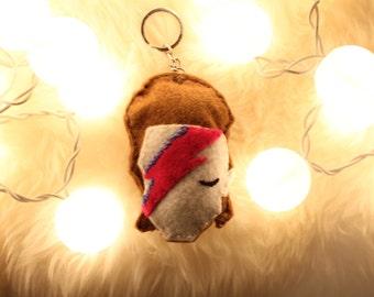 David Bowie Keychain Ziggy Startudust Tribute Felt Bowie Keychain Cool Gift