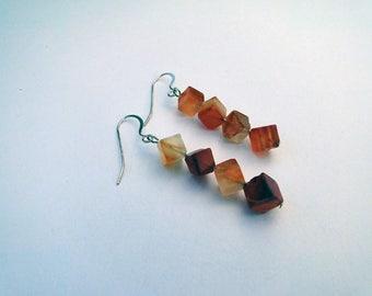 Red aventurine dangle earrings