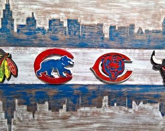 Chicago Sports Logo Flag