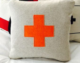 Hermes Orange Swiss Cross Pillow