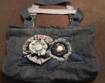Handmade jeans lady purse, handbag or bag-of-holding