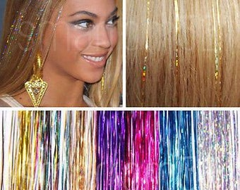 EDC Hair Tinsel (rave music festival hair accessory, hair glitter)