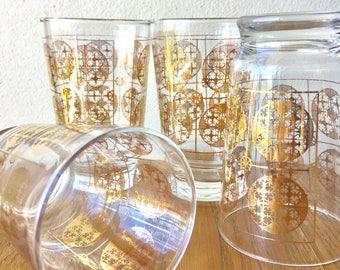 Set of 4 Mid Century Gold Leaf Glass Tumblers Geometric Retro Pattern