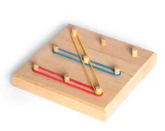 Geoboard for toddlers, 3x3 geoboard, Montessori toddler toys, Montessori geoboard, Rubber Band Pegboard, Pin board