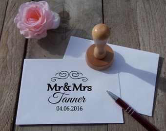 "Wedding stamp ""Mr & Mrs"", personalized / wedding"