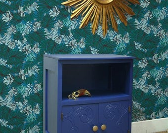 Bedside art deco vintage blue Ultramarine and gold