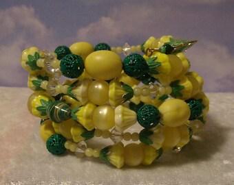 Yellow Rose  memory wire wrap bracelet