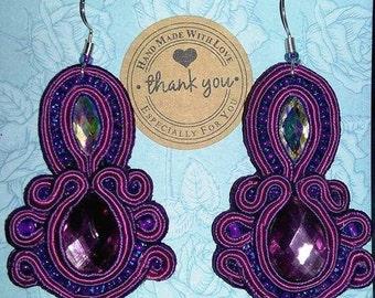 tenderness in purple handmade earrings soutache gift beloved wife birthday elegant extravagant unique Bollywood Gypsy
