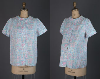 Vintage 1950s maternity blouse | novelty print folk top