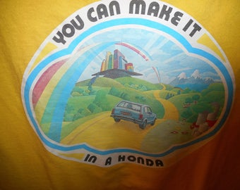 RARE Vintage Promotional T-SHIRT From Honda  with 70's honda on it  you can make it in a honda