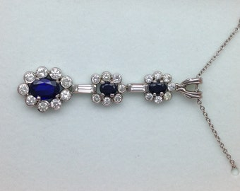 Sapphire & Diamond Necklace and Pendant - 14kt White Gold
