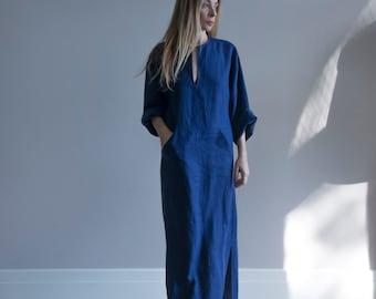 JEFF Indigo Blue Women's contemporary pure linen caftan. Softened fabric. Front pocket Tunic