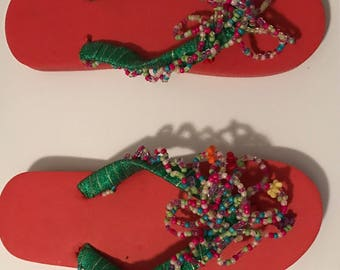 Hand Made fun beaded Flip Flops