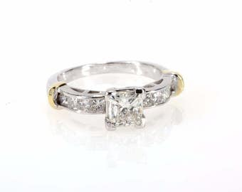 18K White Gold 1.60 CTW Princess Cut Solitaire Diamond With Accents Engagement Ring