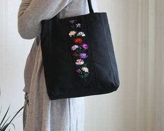 Black handmade bag Unique flowers bag Flowers on fabric Fabric shoulder bag Gift for her Black purple handbag Ladies handles bag Embroidered
