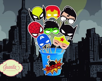 PROPS for photobooth printable SUPERHEROES and VILLAINS - personalize your photos with these fun accessories