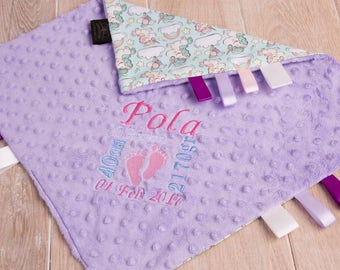 Taggie blanket, baby taggie blanket, baby comforter, personalised taggie, baby shower gift