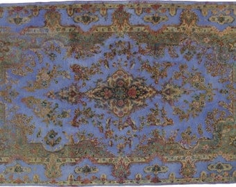 Overdyed Hand Knotted Vintage Persian Retro Chic Rug 250x145cm
