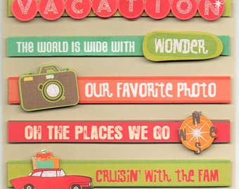 Vacation Road Trip Quotes Tags K&Company 3D Scrapbook Stickers Embellishments Cardmaking Crafts