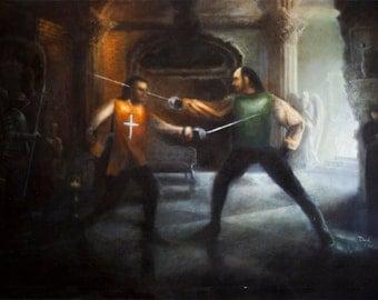 Two Swordsmen (Resident Evil) oil painting