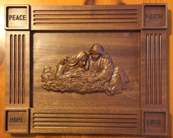 Wooden Holy Family Plaque