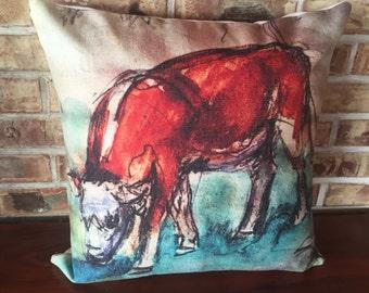 Rustic Modern Decor Calf Grazing  Decorative Pillow Cover