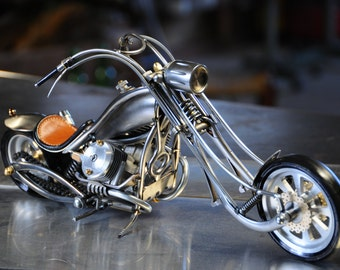 miniature motorcycle to number 14 recycled metal art