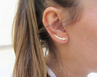 Ear crawler, Ear climber earrings, Gold ear climber, Minimalist ear climbers, Geometric ear climber, Silver ear climber