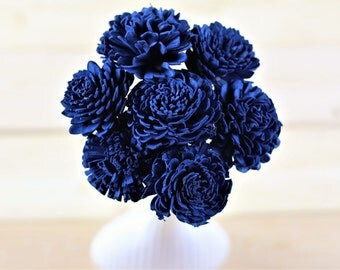 Navy Blue Sola Flowers,Sola Flowers, Rustic Wedding, Cake Table Decor, Country Wedding, Rustic Home Decor, Wedding Flowers, DIY flowers