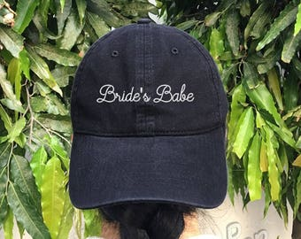 Bride's Babe Embroidered Denim Baseball Cap Wedding Cotton Hat Unisex Size Cap Tumblr Pinterest