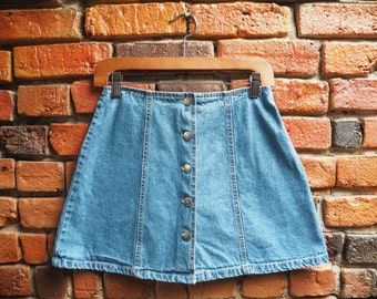 Women's 90s Button Down Light Wash Denim Jean A-Line Mini Skirt With Back Bow Detail Size Small