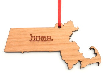 Massachusetts home. Christmas Ornament - MA Massachusetts State Ornament - Home Christmas Ornament