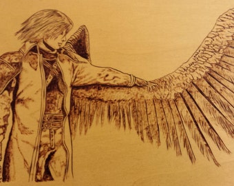 Core Crisis Final Fantasy VII pyrography fan art